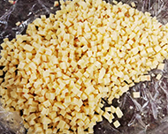 DRD350 Frozen Meat Dicer cutting cheese cubes